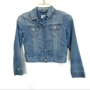 Gap denim kids jacket press button front pockets